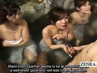 Subtitle CFNM outdoor Japan bathhouse masturbation game