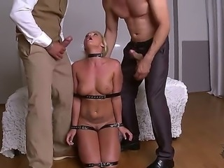 Examine the cool porn scene with Kathia Nobili. Nasty blonde bitch is fond of being double penetrated. Men are stuffing mouth, snatch and backdoor hole of bitch by fat dongs.