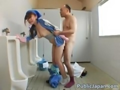 Asian beauty is cleaning the mens room part2