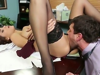 Classy hottie Jasmine Caro munches on Preston Parkers hard dick before he smashes her pussy on a table