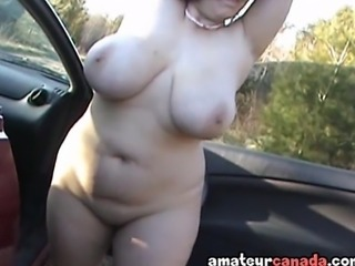 The day is windy and my sports car is kept warm so that Tracy can get inside and really finger that pussy underneath her white cotton lingerie