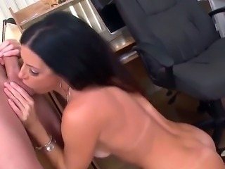 Man pushes big red dildo into asshole of India Summer. She takes his cock in mouth and sucks it well after that before getting the shlong into wet snatch and ready for it anus.