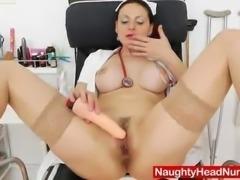 Fantastic redhead teasing in uniforms and masturbating