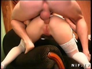 Naughty french blonde in white panties gets analized free