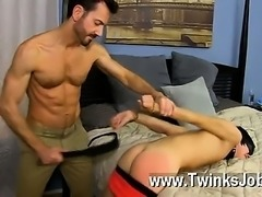 Gay XXX He paddles the strapped dude until his culo is crimson before