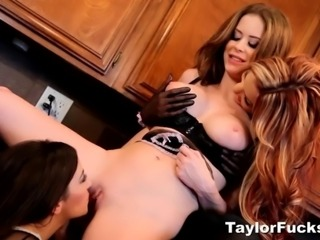 Jayden Cole, Taylor Vixen, and Emily Addison have some kitchen fun baking together.