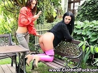 Glamour fetish lesbians outdoors