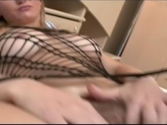 Horny girl masturbates and gets hard cock in her hairy holes