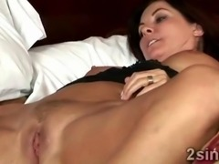 Young brunette babe sucks off her mothers hunky lover