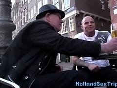 Busty euro hooker takes cash