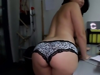 Hot brunette babe suck on a huge dick and later gets her wet tight pussy fucked hard.