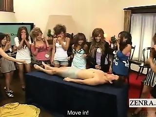 Subtitled CFNM Japanese gyaru group handjob party