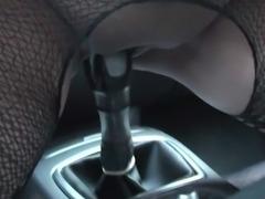 Homemade amateur girl having fun in a car