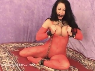 Damsel Diana Knight tied and gagged in erotic bondage and sexy livingroom...