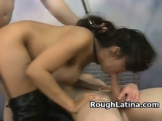 Latina Slut Leashed And Manhandled In Threesome