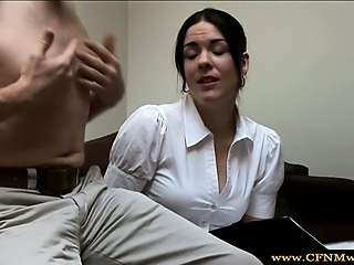 Femdom cfnm babe gets horny and tugs cock