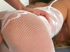 Young blonde babes Linda Ray in red fishnet body stockings and hot ass Rita...