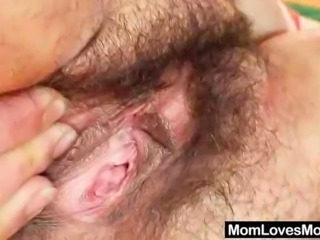 Extremely hirsute amateur matured Hedvika lesbian action