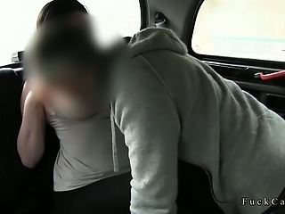 Huge tits brunette flashing in fake taxi