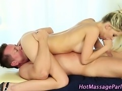 Blonde masseuse facialized and licked