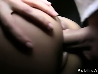 Hot brunette amateur fucked on stairs in public