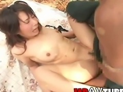 japanese chick with nice tits and nice hairy pussy gets creampie