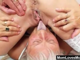 Old granny gets naughty at her age plus another amateur mom. They inserting their elder pussies with candles and plastic-dicks