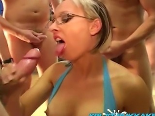 Gorgeous British pornstar Tracy Venus gets spunked on and takes some great facials in this top bukkake party shoot