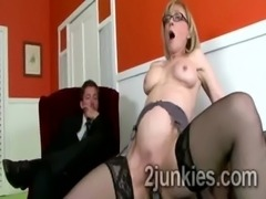 Blonde cougar with glasses and hot stockings rides big black cock free