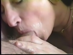 MILF taking load in her mouth free