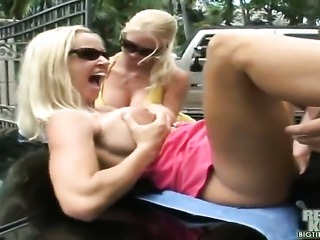 When you get to drive two fine assgirls like my boss Tabitha and herpartner Molly, everyday is a vacation.On this rainy day, my boss demanded meto go down on her. How could anybodysay no to that, and to top it all off,Molly started licking Tabithas tits asI was fucking her on top of a Bentley. I really love my job with my big titsboss.