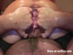 Fist fucking her squirting bucket vagina free
