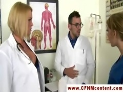 A pair of kinky CFNM nurses are giving blowjob free