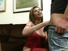 Donna Bell shows oral sex tricks to hot blooded man with desire