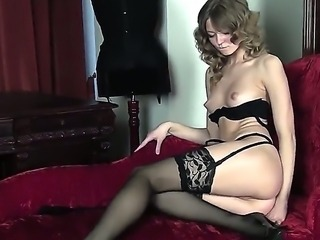 Amazing longhaired beautiful girl is going not only to strip but to play with her juicy fresh pussy too! Look at her staying in high heels  stockings before fingering.