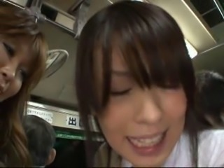 Japanese School Girls in a Bus 2