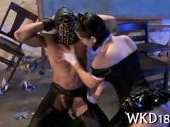 Masked stud ravages a pale milf in stockings