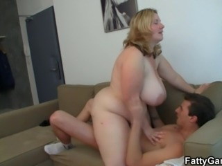 See her huge melons bounce while she riding his big rod