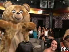 Dancing bear gets freaky on these gals