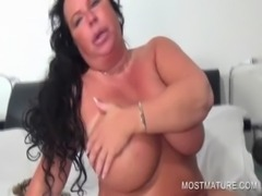 Chesty slutty mom vibing her cunt free
