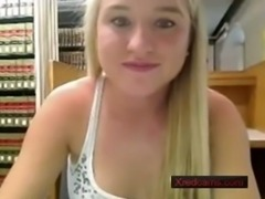 Cute blonde from Xredcams - masturbates in library free