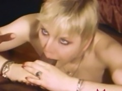 Vintage porn scene with a flat-chested blonde babe getting fucked by black...