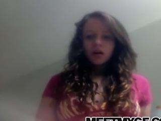 Hot girlfriend strips topless on webcam