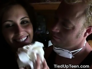 Tied Up Teen Dirtbag Fucked And Taking Massive Facial