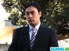 Amazing Asian schoolgirl Ruka Kanae masturbates her pussy