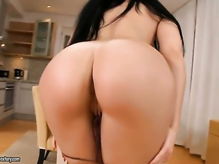 Aletta Ocean with juicy boobs demonstrates her neat muff in solo scene