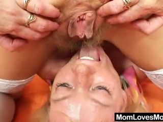 Two amateur moms, slim ripe has a bushy vag the other madam shaved pussy. This is their first time lesbian action with toys
