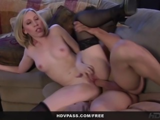 From the HD parody porn series Roseanne XXX, see stunningly beautiful babe Jules Sterling deepthroat her boyfriend's cock before fucking him hard on her parent's couch!