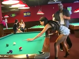 Oh, what money could do with people! See this scene where pal enters billiard club where three gals were playing pool and offers money to them for gals to show their titties...