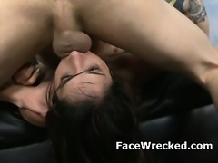 Wild Brunette Amateur Getting Her Face Totally Ruined